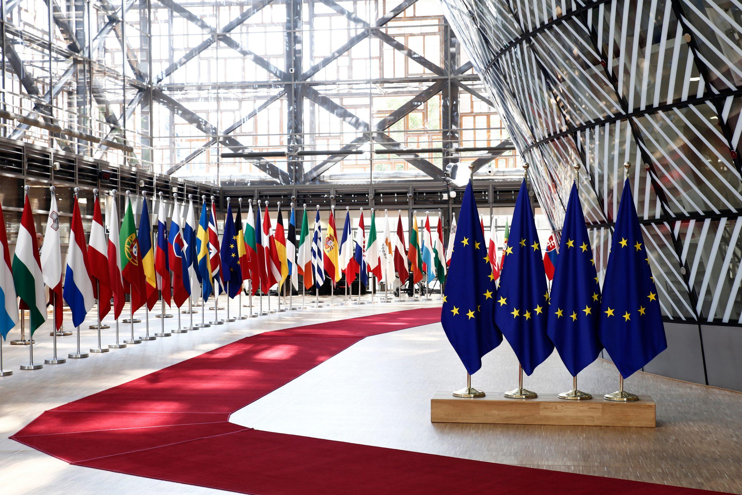 Brussels,,Belgium,Jun.,28,,2018.,Eu,Flags,In,Eu,Council